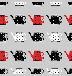 Cute watering can seamless pattern vector