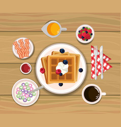 Delicious waffles with bacons and orange juice vector