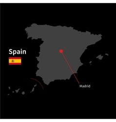 detailed map spain and capital city madrid vector image
