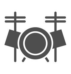 drum set glyph icon music and instrument vector image