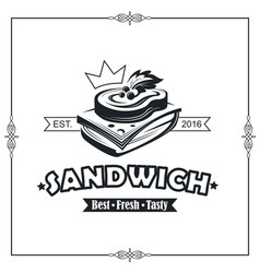 emblem with sandwich vector image