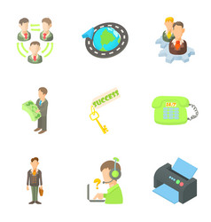 Employee of month icons set cartoon style vector
