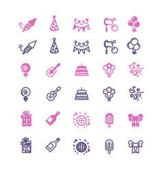 Event party birthday festive icons set vector