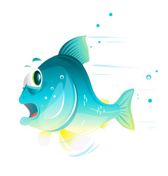 Fish cartoon escapes from danger vector