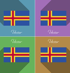 Flags Aland Set of colors flat design and long vector