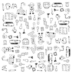 Flat hand draw education tools doodle vector image