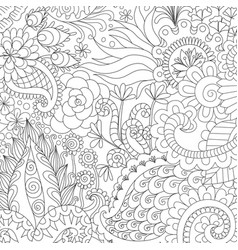flowers and leaves for background coloring book vector image