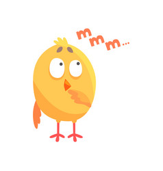 Funny thoughtful cartoon comic chicken vector