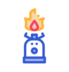 gaz cylinder with fire for cooking icon vector image