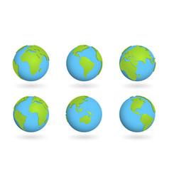 globe earth world sign planet 3d map on ball vector image
