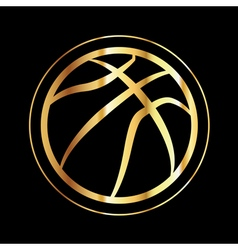 Golden basketball icon vector