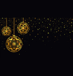 golden christmas toys new year background vector image