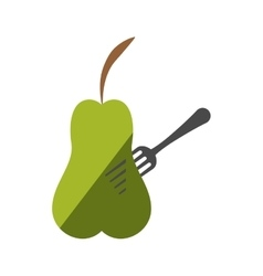 Green pear fruit on fork with shadow vector