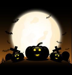 Halloween pumpkins under moonlight vector