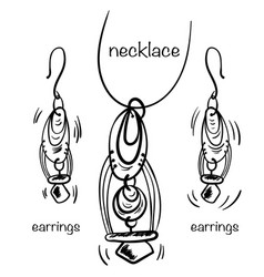 Hand made necklace and earings in hand drawn vector