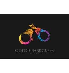Handcuffs logo design Color handcuffs design vector image
