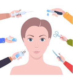 Hands holding different medical items around vector