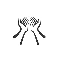 hands icon isolated flat design vector image