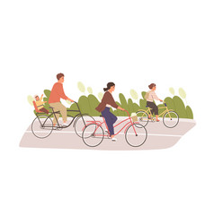 happy and healthy family with kids cycling in vector image