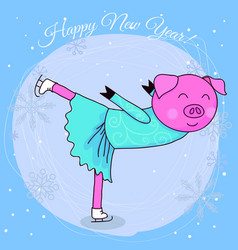 Happy new year card cartoon pig skater vector