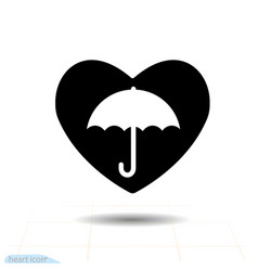 heart black icon umbrella in heart valentines vector image