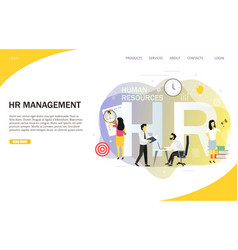 hr management landing page website template vector image