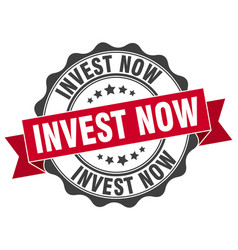 Invest now stamp sign seal vector