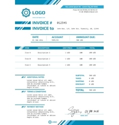 Invoice template design layout vector