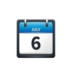 July 6 calendar icon flat vector