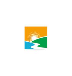 landscape nature sun shine logo vector image