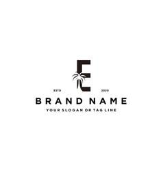 Letter e palm logo design concept vector