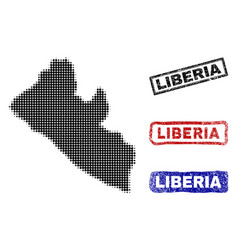 liberia map in halftone dot style with grunge vector image
