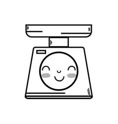 Line kawaii cute happy weight machine vector