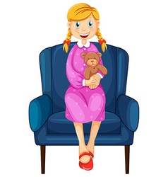 Little woman hugging teddy bear vector