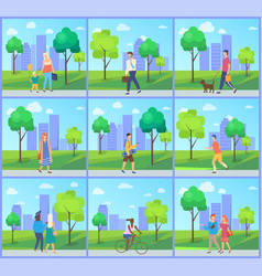 Man and woman in park leisure in city vector