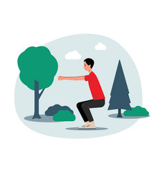 Man doing squats exercises outdoors in park flat vector
