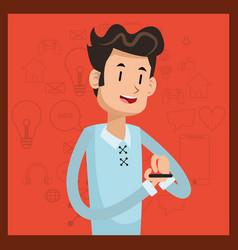 man smartphone smile social media orange vector image