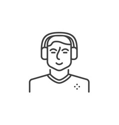 Man with gaming headphones outline concept vector