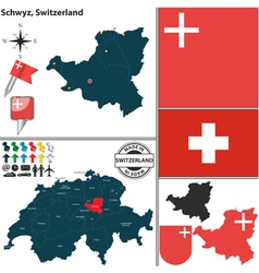 Map of Schwyz vector image