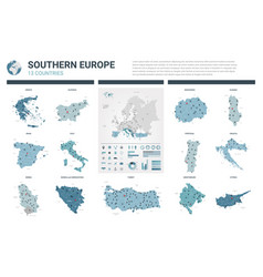 maps set high detailed 13 maps southern europe vector image