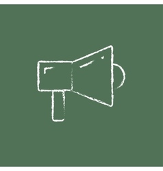 Megaphone icon drawn in chalk vector image