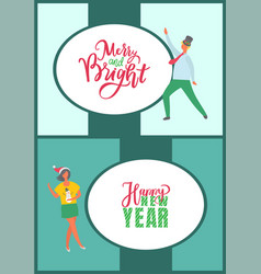 merry and bright holidays happy new year postcard vector image