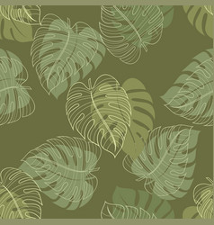 monstera leaf seamless pattern vector image