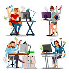 Multiple tasks business concept set person vector
