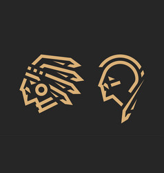 native american logo chief and warrior vector image