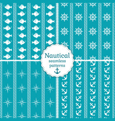 nautical seamless patterns collection vector image