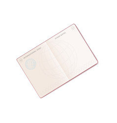 open international passport mockup with blank visa vector image