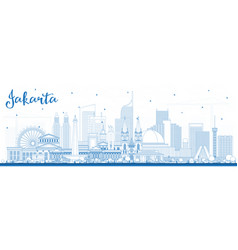 outline jakarta indonesia city skyline with blue vector image