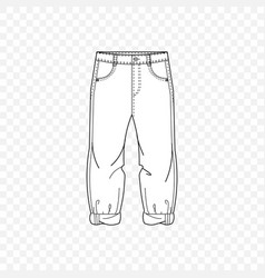 Pattern modern fashion trousers in outlines vector