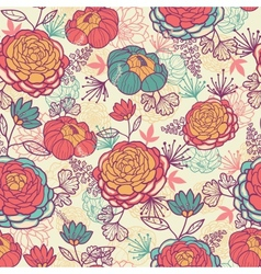 Peony flowers and leaves seamless pattern vector